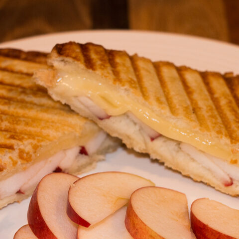 apple fontina honey grilled cheese sandwich recipe on a white plate with apple slices in front